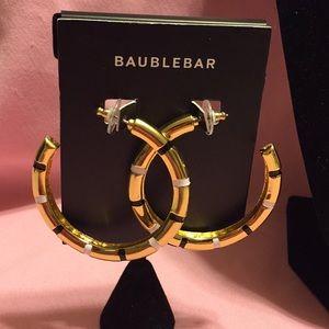 BNWT BAUBLEBAR GOLD & ENAMEL PIERCED HOOP EARRINGS